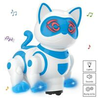 Pet Robotic Cat Toy Kitty Walks Meows Sits With Lights And Music Bump N Go (New)