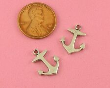 ANT SILVER PLATED BRASS ANCHOR CHARM WITH FLAT BACK - 2 PC(s)