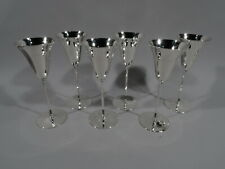 Tiffany Goblets - 20468 - 6 Art Deco Champagne Flutes - American Sterling Silver