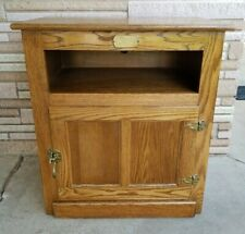 Vintage White Clad Oak Ice Box End Table Night Microwave Stand
