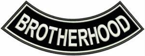 BROTERHOOD White on Black Bottom Rocker Decorative Patch for Biker Vest or Jacke