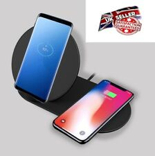 QI 10W Dual Fast Wireless Charger Charging Pad Dock Station Samsung iPhone