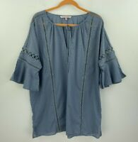 Victorias Secret XL 16 ? Top Blouse Blue Bell Sleeve 3/4 Sleeve Boho B43-02