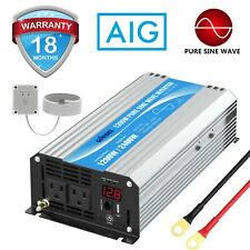 Pure Sine Wave Power Inverter 1200W DC 12V to AC 110V~120V with Remote & Display