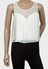 BNWOT Ladies pleated cream sleeveless summer top UK Size 8