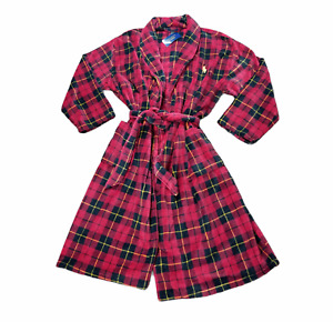 Polo Ralph Lauren Mens Plush Robe Red Plaid Belted Pocket Long Sleeve L/XL New