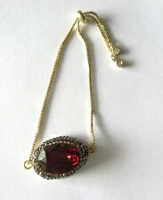 Davinci Collections drawstring bracelet- red crystal- gold chain adjustable