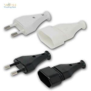 Euro-Stecker/Kupplung weiß oder schwarz EU Netzstecker flach, Strom-Stecker 230V
