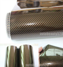 "12"" x 50"" - Cool Car Glossy 2D Carbon Fiber Vinyl Wrap Sticker Decal Brown - HD"