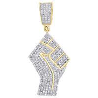 "10K Yellow Gold Real Diamond Raised Fist Symbol Pendant 1.40"" Pave Charm 0.44 CT"