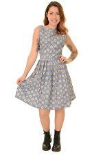 Ladies 50s 60s Retro Blue Daisy Pleated Dress Size 10