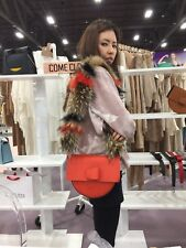 SELVA HANDBAG w FOX FUR or LEATHER ADJUSTABLE STRAP SADDLE SHOULDER BAG