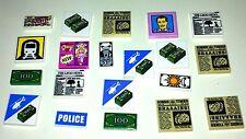 20 Lego Nuevo Original Impreso Azulejos-signos & periódicos dinero dólares