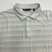 Travis Mathew Polo Shirt Men's XL Short Sleeve Gray White Striped Cotton Blend