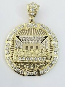 10k Yellow Gold Round Apostles Last Supper Mens Diamond Cut Pendant REAL Charm