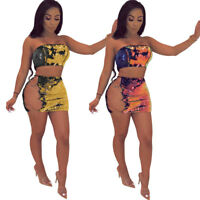 Women Strapless Bodycon Chain Cross Sequin Bodycon Mini Club Dress Skirt Set 2pc