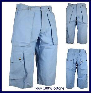 bermuda pinocchietto da uomo cargo tasconi lavoro pantaloncini corti cotone 46