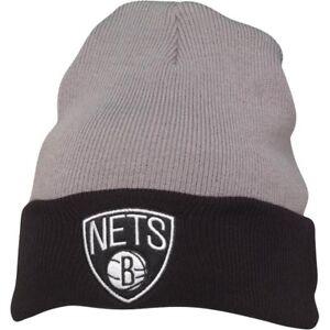 Mitchell & Ness Mens Brooklyn Nets 2 Tone Cuff Knit Grey Beanie New