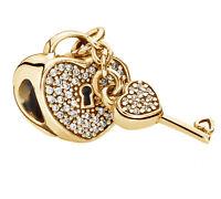 Genuine Pandora Lock of Love Charm 14K Gold Vermeil 791429CZ