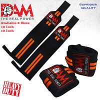 DAM 12 Inch WRIST WRAPS HEAVY DUTY POWER LIFTING BODYBUILDING GYM SUPPORT STRAPS