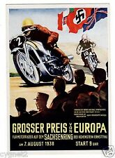 POSTCARD GERMAN 1938 MOTORCYCLE RACE GRAND PRIX EUROPE SACHSENRING