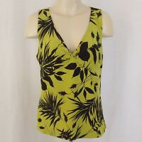 Dana Buchman Sleeveless Blouse Size 6 100% Silk Green Brown Leaf Lined V-Neck