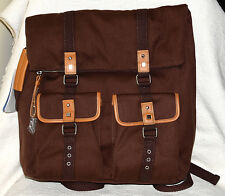 $238 New NWT Bodhi Brown Canvas Leather Foldover Backpack