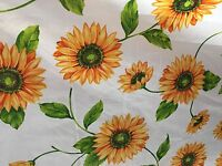 White Yellow Daisy Floral Print Poly Cotton Fabric - Sold By The Yard -  59""