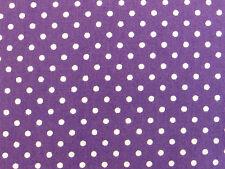 Púrpura/Blanco 3mm Lunares 100% Algodón Popelín Puntos De Tela Artesanía Vestido Retro 1m