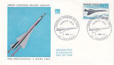 Enveloppe 1er jour FDC 1969 - Concorde Vol Inaugural Premier Vol Projet