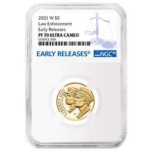 2021-W Proof $5 Gold National Law Enforcement NGC PF70UC ER Blue Label
