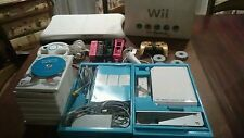 Nintendo Original Wii Console System Lot Bundle 4 Controllers 14 Games + extras