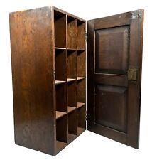 Antique Arts & Crafts Wooden Oak Carved Pigeon Hole Cabinet / Storage Box