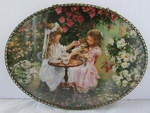 "Sandra Kuck ""Tea With Kitty"" Oval Flue Cover Wall Hanging Victorian Girls Tea"