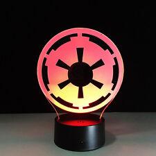 3D Nuit Lumière Lampe Star Wars Logo de l'Empire Galactique Stationnaire Cadeau