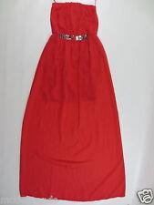 langes Kleid Abendkleid TRAFALUC ZARA Partykleid XS ca 32 erdbeer rot Perlen /B3