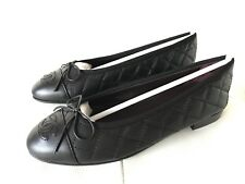$795 CHANEL CLASSIC QUILTED BLACK CALFSKIN LEATHER BALLET FLATS 40