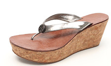 9f9287f56bd Tory Burch Women s Thora Silver Patent Leather Wedge Thong Sandals 6247 Sz  9.5 M