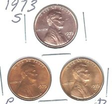 1973 D-P-S Three Uncirculated Lincoln Memorial Cent Coins