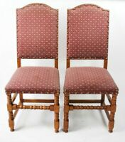 A pair of Quality Solid Oak Upholstered Dining Chairs [5150A]