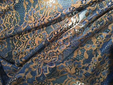 V-S01150 Exquisite Italian Navy blue and brown Viscose Silk Lace per Yard