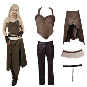 Women's Dothraki Kaleesi Outfit Daenerys Targaryen Brown Cosplay Costume