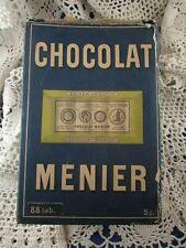 ancienne boite chocolat menier carton epoque 1920 88 tablettes publicitaire pub