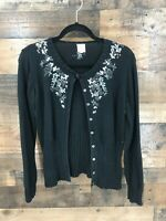 Noa Noa Women's Black Floral Embroidered Sweater Cardigan Size M