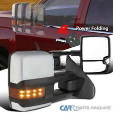 For 14-18 Silverado Power Folding Heated Clear Side LED Signal Tow Mirrors