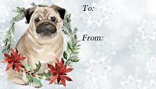 Pug Dog Christmas Labels (42) by Starprint - No 5 - Self adhesive