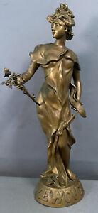"""LG 26"""" Antique ART NOUVEAU Era LADY GODDESS STATUE Old PARLOR SCULPTURE"""