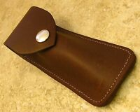 "Large Brown Leather knife Sheath for folding blade knives up to 5"" closed"