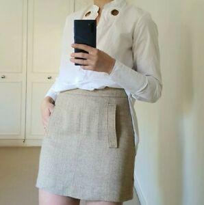 Etro Italy Mini Skirt Gold Nude Size IT 42 UK 10 M Shimmer Pockets Short Knit