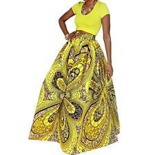 Yellow African Skirt Dashiki Print Women Boho High Waist Floral Beach Maxi Dress